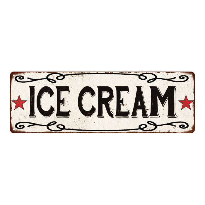 ICE CREAM Country Style w/Red Stars Vintage Look Metal Sign 6x18 106180078011