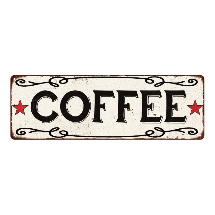 COFFEE Country Style w/Red Stars Vintage Look Metal Sign 6x18 106180078012