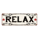 RELAX Country Style w/Red Stars Vintage Look Metal Sign 6x18 106180078013