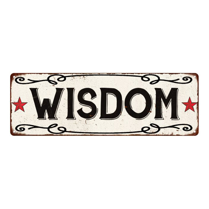 WISDOM Country Style w/Red Stars Vintage Look Metal Sign 6x18 106180078022