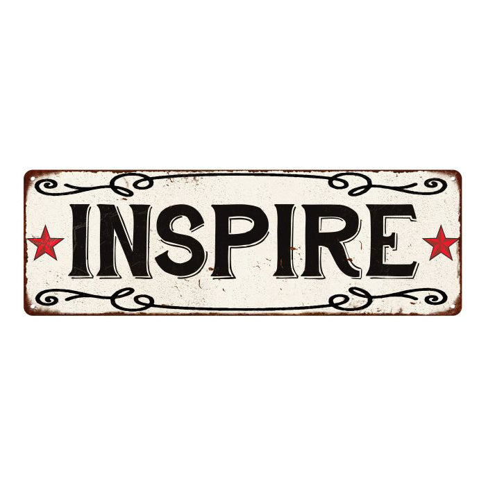 INSPIRE Country Style w/Red Stars Vintage Look Metal Sign 6x18 106180078023