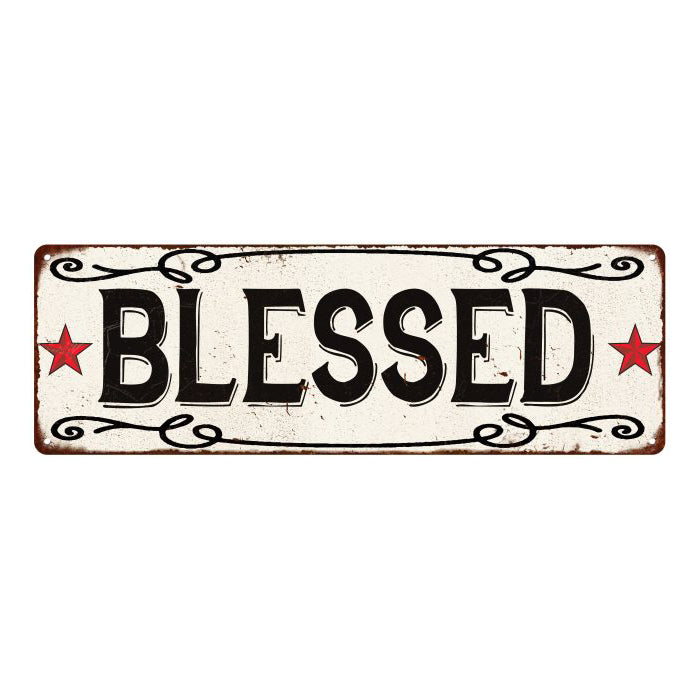 BLESSED Country Style w/Red Stars Vintage Look Metal Sign 6x18 106180078025