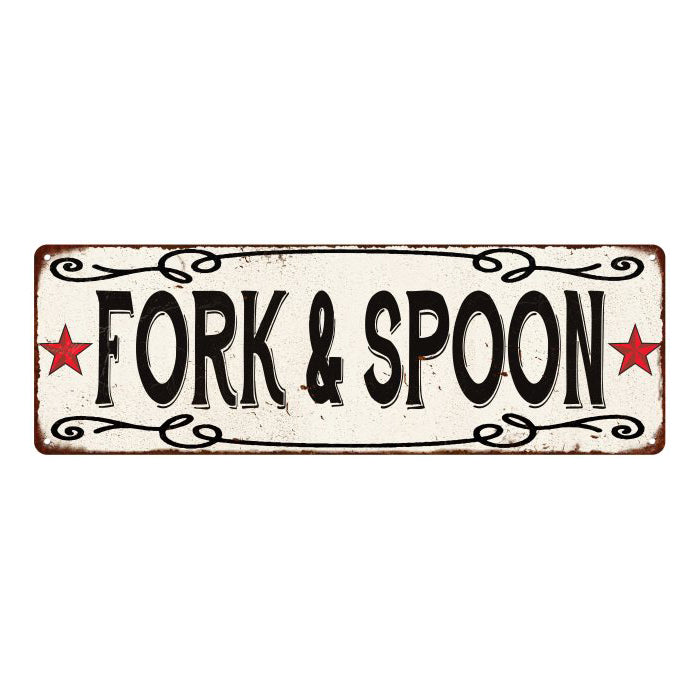 Fork & Spoon  Vintage Look Reprodution Metal Sign 6x18 106180078028
