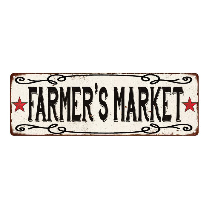 Farmer's Market  Vintage Look Reprodution Metal Sign 6x18 106180078029
