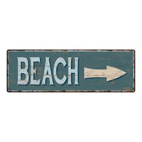 Beach Arrow Beach Style Wood Look Sign Gift Green 6x18 Metal Decor 106180086069