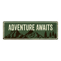 Adventure Awaits Camping Outdoors Metal Sign Gift 6x18 106180091013