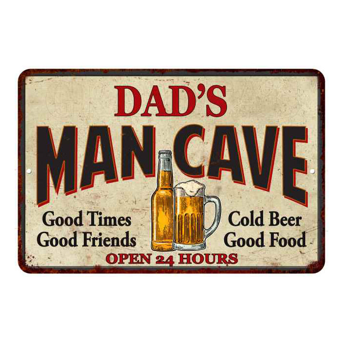 DAD'S Man Cave Personalized Metal Sign Wall Decor Gift 8x12 108120011002