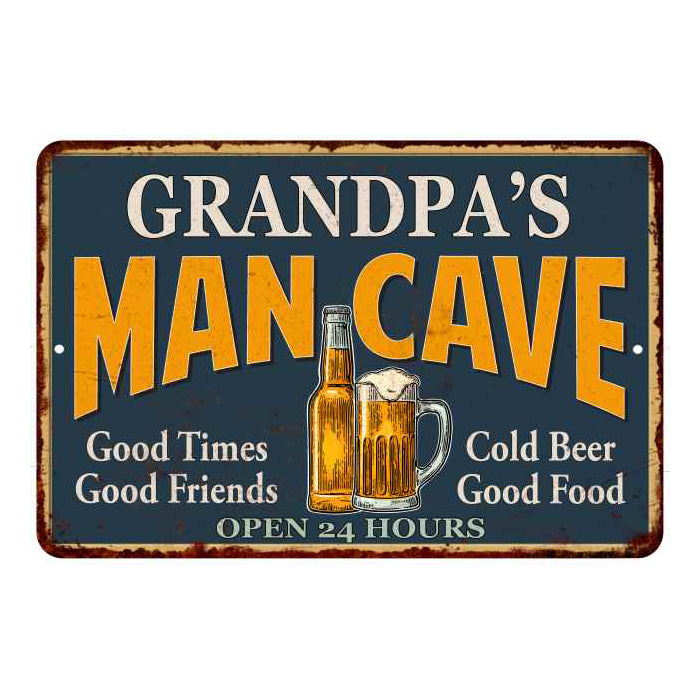 GRANDPA'S Man Cave Personalized Metal Sign Green Gift 8x12 108120012003