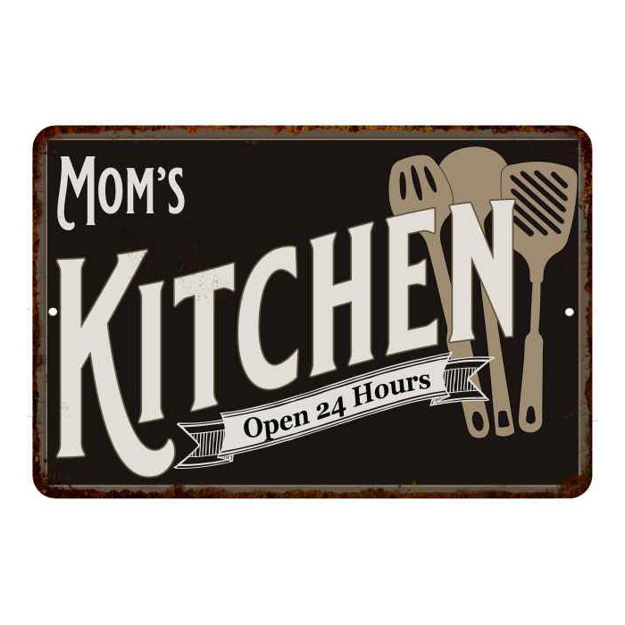 Mom's Kitchen Personalized Sign Metal Wall Decor Dift 8x12 108120019002