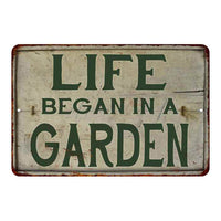 Life Begain in a Garden Vintage Look Garden Chic 8x22 Metal Sign 108120020031