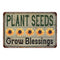 Plant Seeds Grow Blessings Vintage Look Garden Chic 8x22 Metal Sign 108120020039