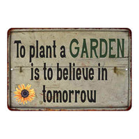 Plant a Garden.. Vintage Look Garden Chic 8x22 Metal Sign 108120020040