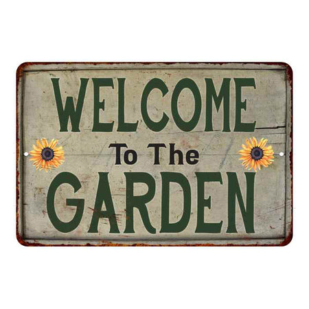 Welcome to the Garden Vintage Look Garden Chic 8x22 Metal Sign 108120020041
