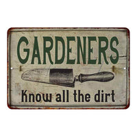 Gardeners Know… Vintage Look Garden Chic 8x22 Metal Sign 108120020048