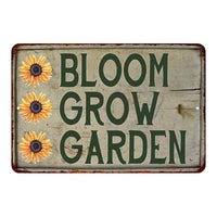 Bloom Grow Garden Vintage Look Garden Chic 8x22 Metal Sign 108120020049