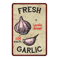 Fresh Garlic Kitchen Vintage Look Chic 8x22 Metal Sign 108120020055