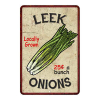 Leek Onions Kitchen Vintage Look Chic 8x22 Metal Sign 108120020059