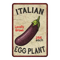 Italian Eggplant Kitchen Vintage Look Chic 8x22 Metal Sign 108120020060