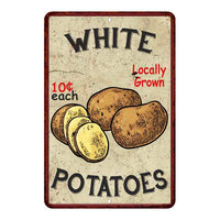 White Potatoes Kitchen Vintage Look Chic 8x22 Metal Sign 108120020062