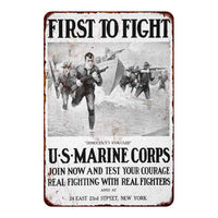 Distressed First to Fight Vintage Look Distressed 8x22 Metal Sign 108120020067