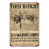 Distressed First to Fight Marines Vintage Look 8x22 Metal Sign 108120020068