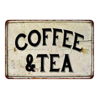 Coffee & Tea Vintage Look Chic Distressed 8x12 Metal Sign 108120020092
