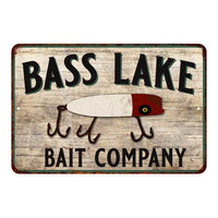 Bass Lake Fishing Vintage Look Chic Distressed 8x12 Metal Sign 108120020119