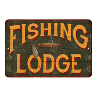 Fishing Lodge Vintage Look Chic Distressed 8x12 Metal Sign 108120020123