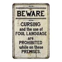 Beware Cursing & Foul Language… Vintage Look Chic Distressed 8x12108120020178