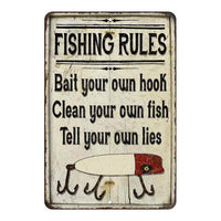 Fishing Rules Bait Your Own Hook Vintage Look Chic Distressed 8x12108120020198