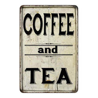 Coffee and Tea Farmhouse Style 8x12 Metal Sign 108120020219
