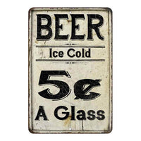 Beer 5 Cents a Glass Farmhouse Style 8x12 Metal Sign 108120020222