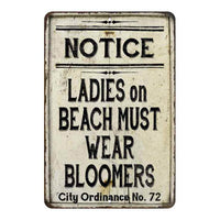 Ladies on Beach Must Wear Bloomers Vintage Look Chic Distressed 8x12108120020237