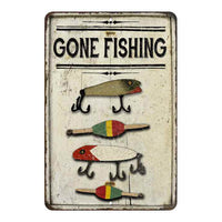 Gone Fishing Lures Vintage Look Chic Distressed 8x12108120020248