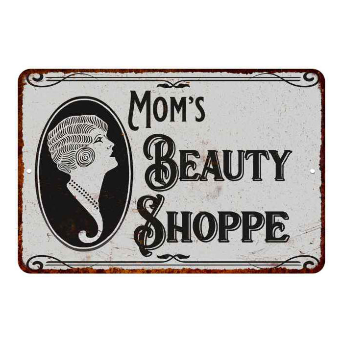 Mom's Beauty Shoppe Chic Sign Vintage Décor 8x12 Metal Sign 108120021002