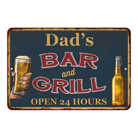 Dad's Green Bar and Grill Personalized Metal Sign 8x12 Decor 108120044002