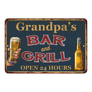 Grandpa's Green Bar and Grill Personalized Metal Sign 8x12 Decor 108120044003