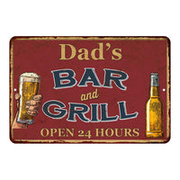 Dad's Red Bar and Grill Personalized Rustic Sign Decor 8x12 108120045002