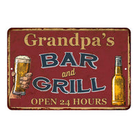 Grandpa's Red Bar and Grill Personalized Rustic Sign Decor 8x12 108120045003
