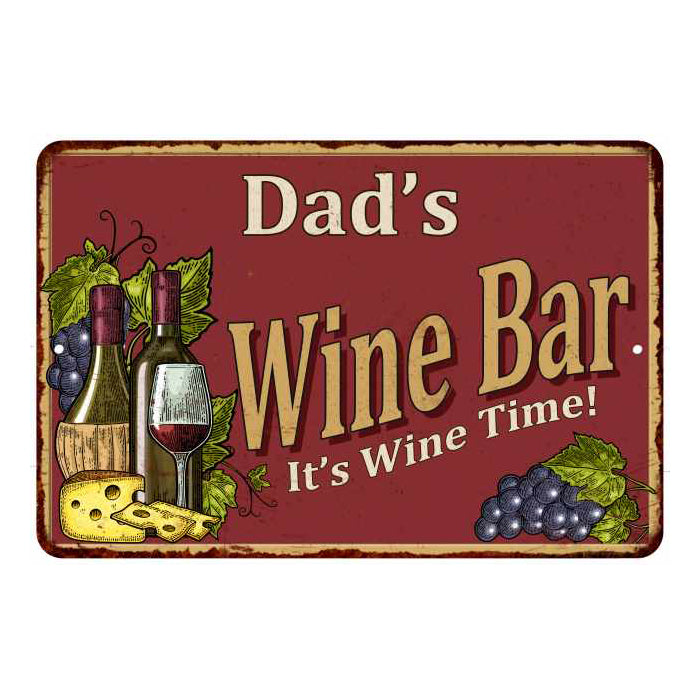 Dad's Red Wine Bar Personalized Metal 8x12 Sign Home Decor 108120054204