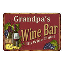 Grandpa's Red Wine Bar Personalized Metal 8x12 Sign Home Decor 108120054205