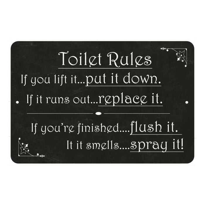 Toilet Rules, if you lift it… Funny Bathroom 8x12 Metal Sign 108120061031