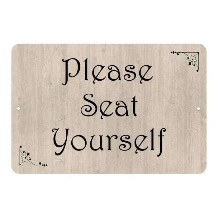 Please Seat Yourself  Funny Bathroom Gift 8x12 Metal Sign 108120061047