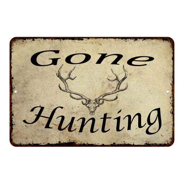 Gone Hunting Man Cave Fishing Hunting 8x12 Metal Sign 108120063005