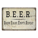 BEER Brew Enjoy Empty Repeat Bar Pub Funny Gift 8x12 Metal Sign 108120064007