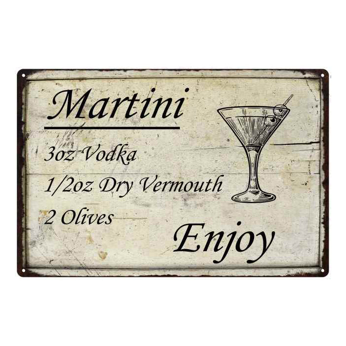 Martini Ingredients Bar Pub Alcohol Gift 8x12 Metal Sign 108120064020