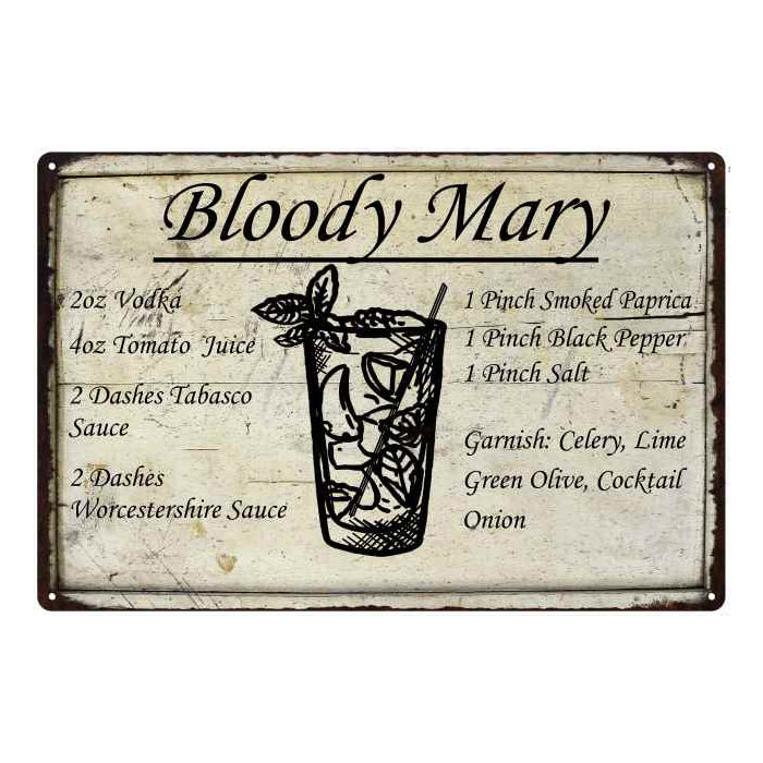 Bloody Mary Ingredients Bar Pub Alcohol Gift 8x12 Metal Sign 108120064023