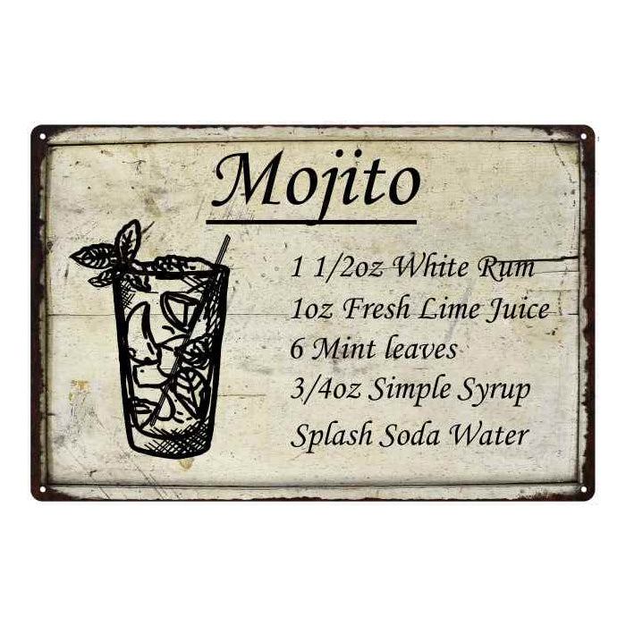 Mojito Ingredients Bar Pub Alcohol Gift 8x12 Metal Sign 108120064024