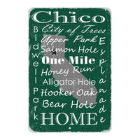 Green Chico California Landmarks Gift 8x12 Metal Sign 108120066001