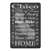 Black Chalkboard Chico California Landmarks Gift 8x12 Metal Sign 108120066002
